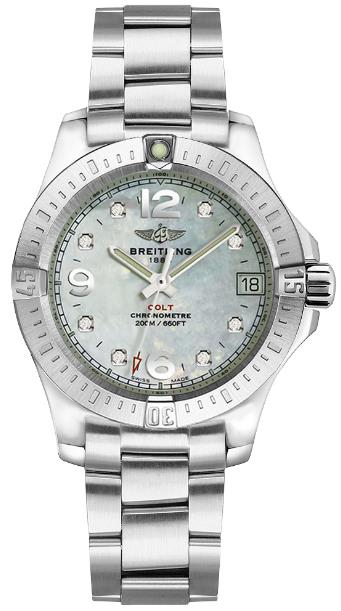 The 33 mm fake watches are made from polished stainless steel.