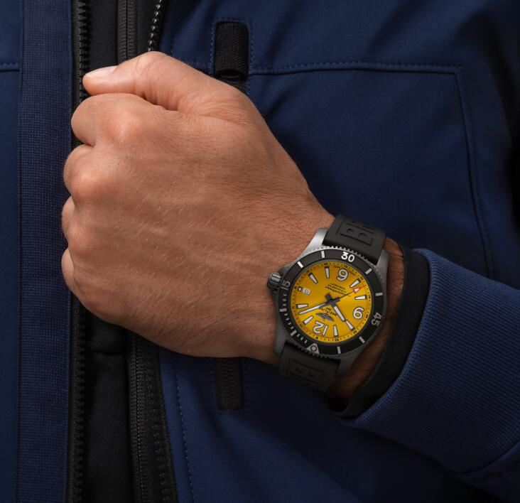 Swiss replication watches are evident with white hour markers on the yellow dials.