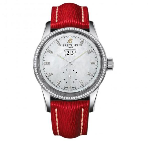 The white dials fake watches have red straps.